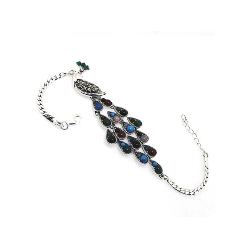 Splendid beauty peacock shape design silver aquamarine bracelet