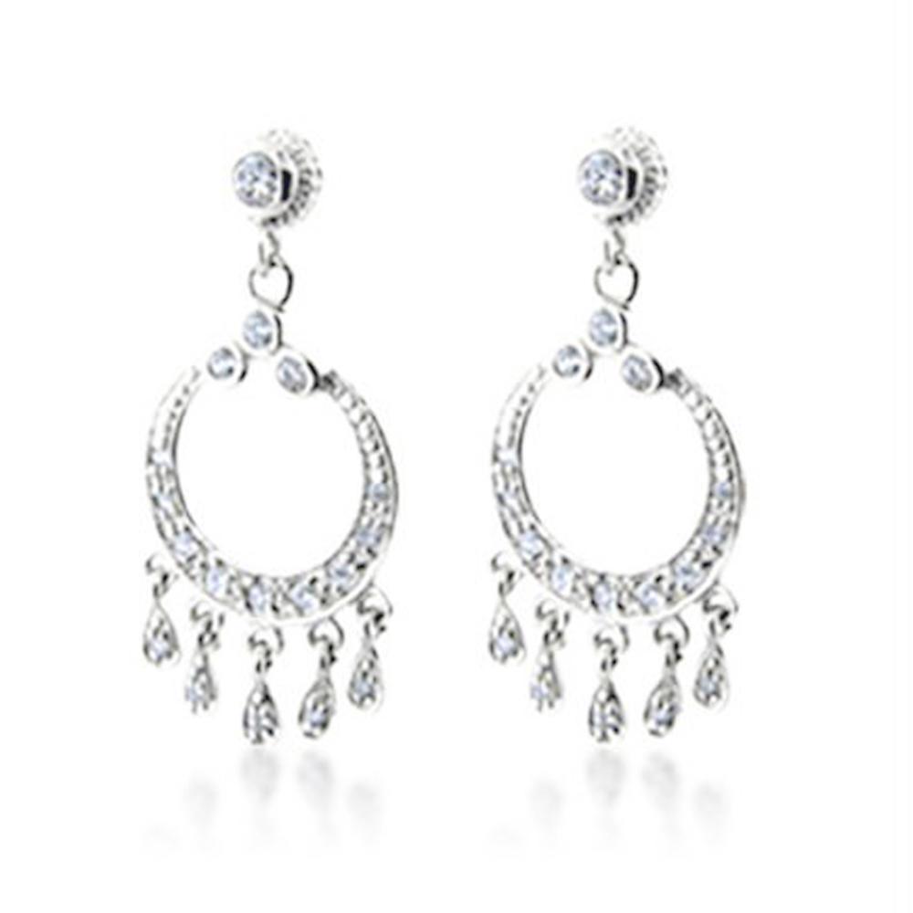 Circle design multi drop cz set silver nepal earrings