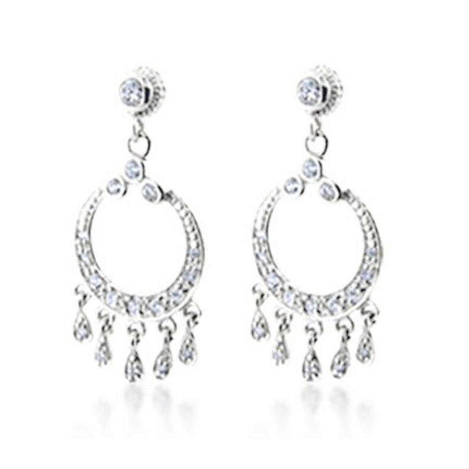 Circle design multi drop cz set silver nepal earrings