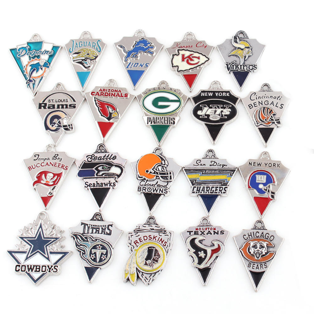 Dripping Oil Football Championship Team Letter Charm Signet Pendants
