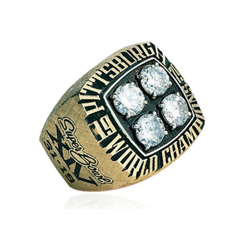 Four Gemstone Gold Plated Custom Letter Engraved Championship Rings