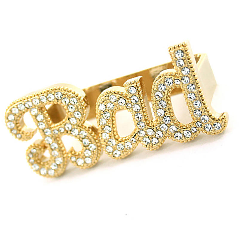 Plating Gold Three Finger Bad Ring, Letter Design Three Finger Ring Set