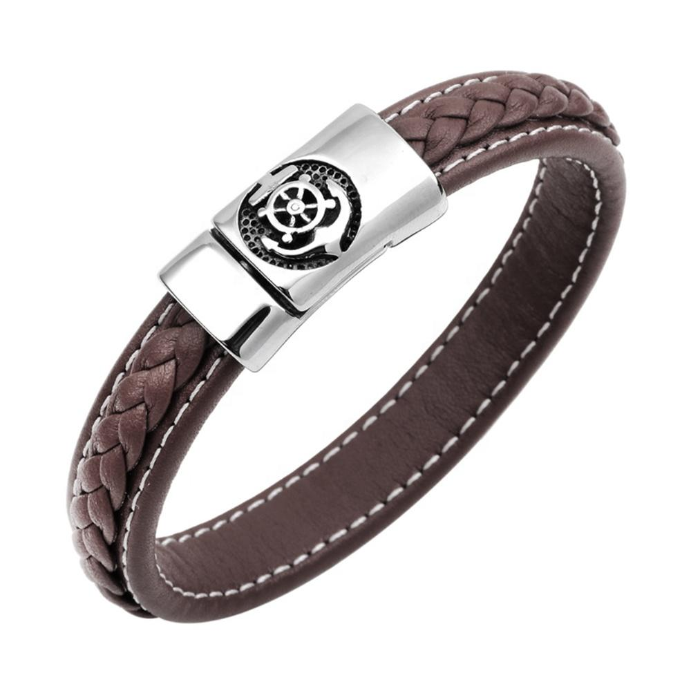 Braided Leather Anchor Engraved Clasp Magnetic Buckle Hiphop Bracelet