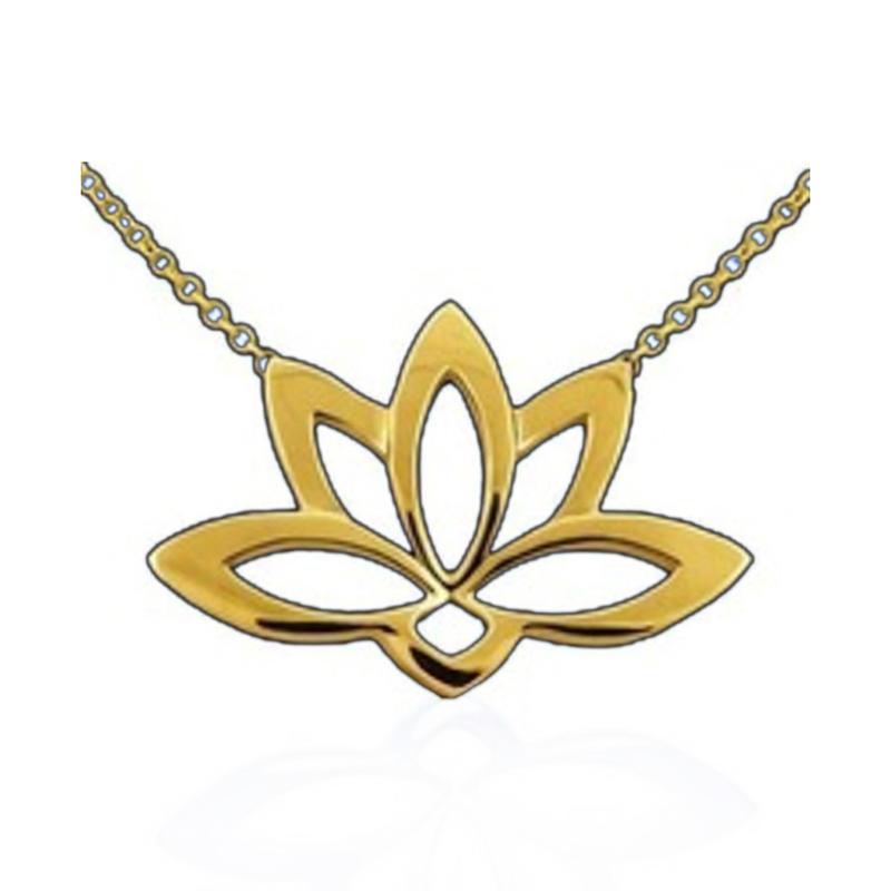 china wholesale lotus flower custom design 14k gold pendant necklace