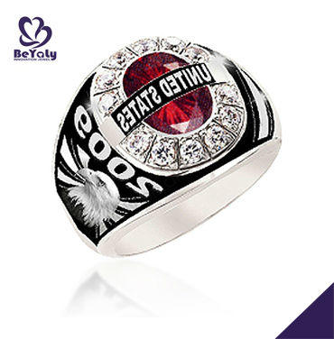 Customization cheap stainless steel costume military ring