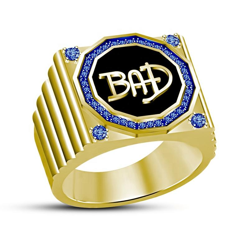 Gold Plated Finishing Blue CZ Bad Ring For Men And Women