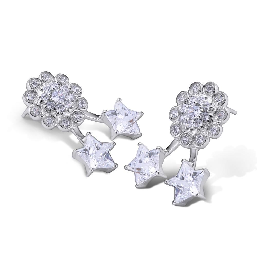 Pentagram star design cz flower tragus piercing jewelry earring