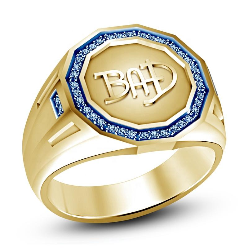 Blue Simulated Diamond 925 Silver Or Yellow Gold Plated Bad Ring