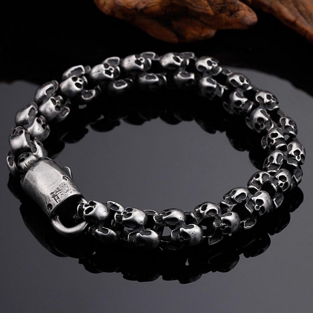Excellent high end skull design silver jewelry gents bracelet