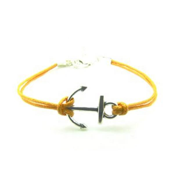 Black Color Simple Design Anchor Bracelet For Men
