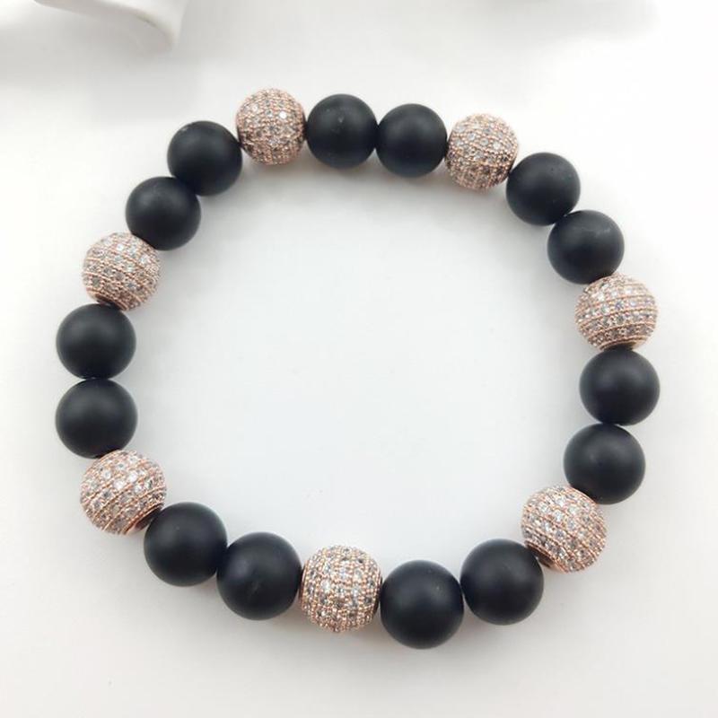 Black And Silver Rosary Design Magnetic Bracelet Made In Japan