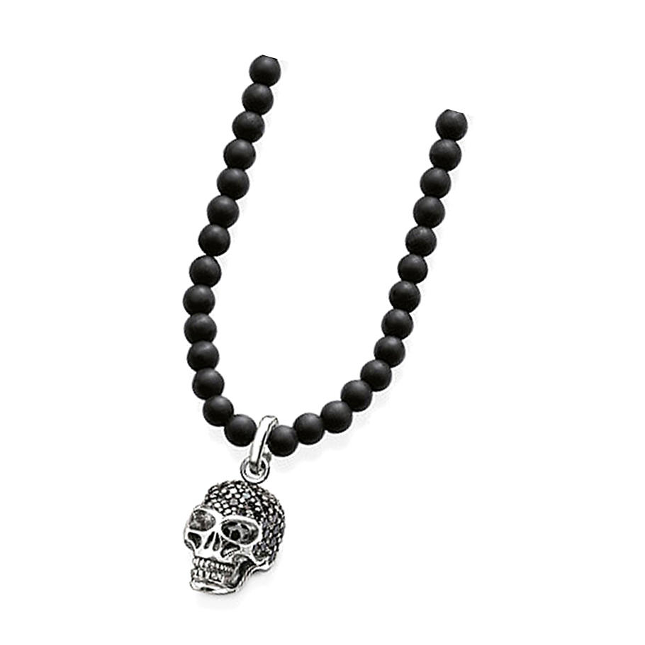 Black Beads Chain With Skull Custom Made Pendant