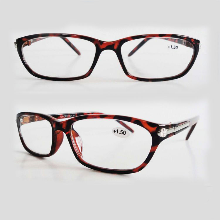 EUGENIA cheap plastic diamond decoration demi color custom logo wholesale reading glasses