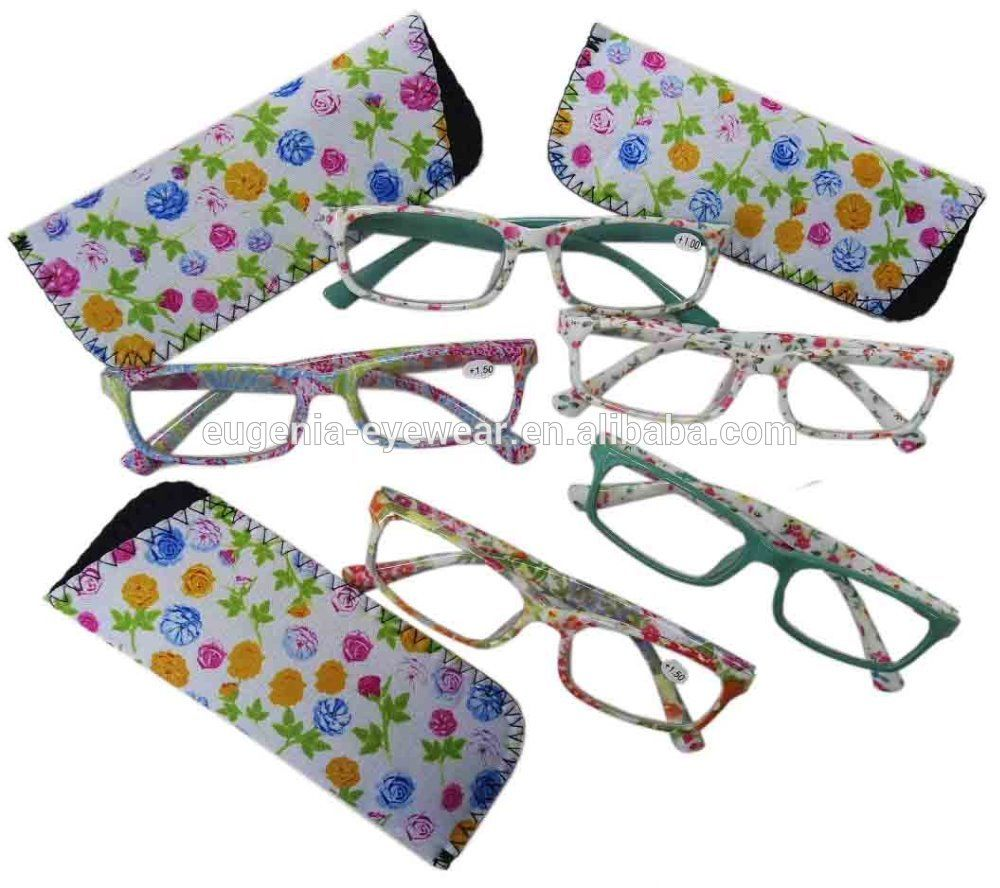 EUGENIA hot wholesale colorful reading glasses with pouch in display cheap reading glasses