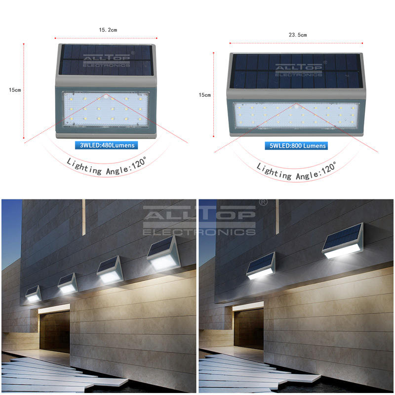 ALLTOP Morden Waterproof Outdoor Up And Down IP65 3w 5w LED Solar Wall Light With Sensor