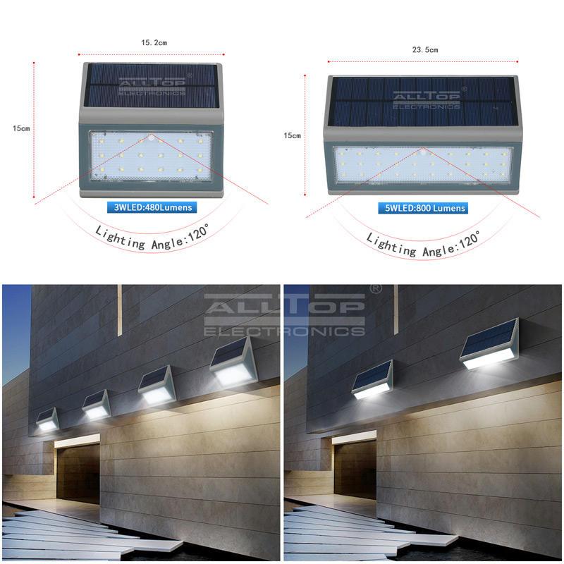 ALLTOP Hot sale High quality high lumen Outdoor garden solar lamp ip65 Waterproof solar led wall lamp