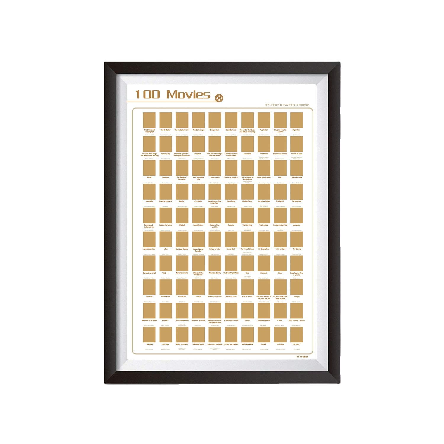 Custom Scratch off Movie100 Books Bucket List Poster For Amazon