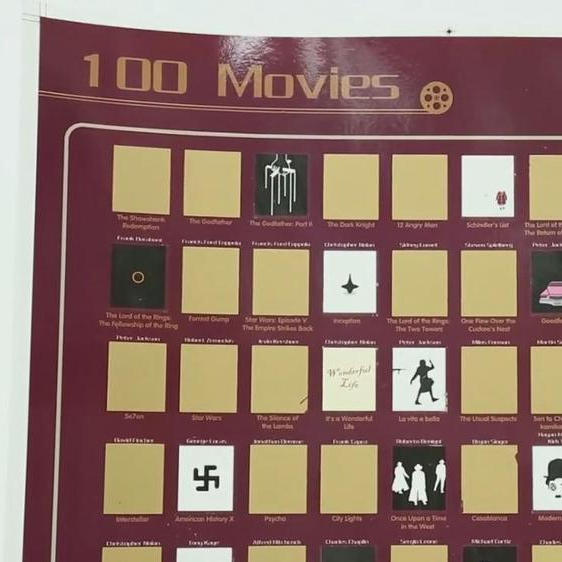 100 Movies Bucket List Scratch Off World Map Poste With Accessories