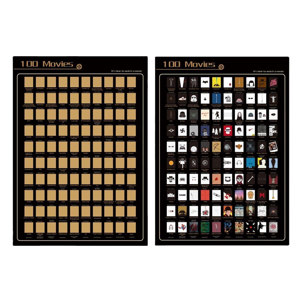 OEM Premium Creative Gifts Top 100 Movies Scratch Off Poster Scratch Book Paper Printing