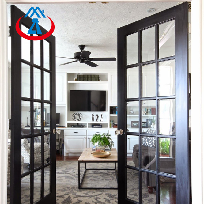 Black Coloured Aluminum French Double Swing Door for House