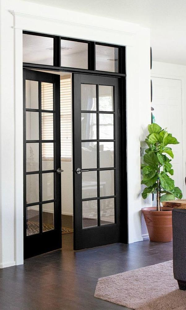 Aluminum Frame Powder Coating Interior Double French Swing DoorWith Grilles forSale
