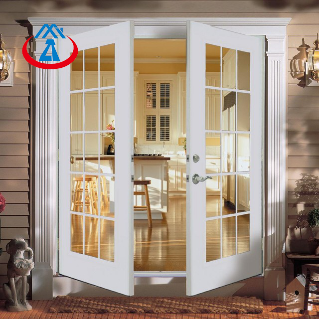 Surface Finished Aluminum Frame Tempered Glass Interior KitchenFrench Swing Door