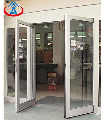 Double Glass Soundproof Commercial AluminumGlass Swing Door