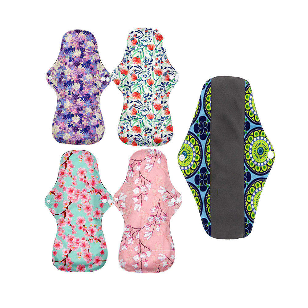 Washable Bamboo Charcoal Ladies Feminine Reusable Pads Menstrual Women Sanitary Pads Cotton, Breathable Sanitary Napkin Pad