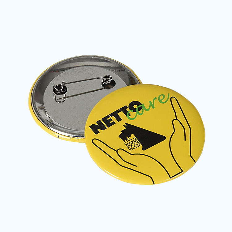 Customized Logo Round Tin Badge With Safe Pin