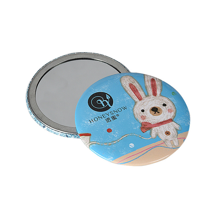 Cartoon Small Round Mirror Portable Mini Mirror Custom Tinplate Cosmetic Mirror