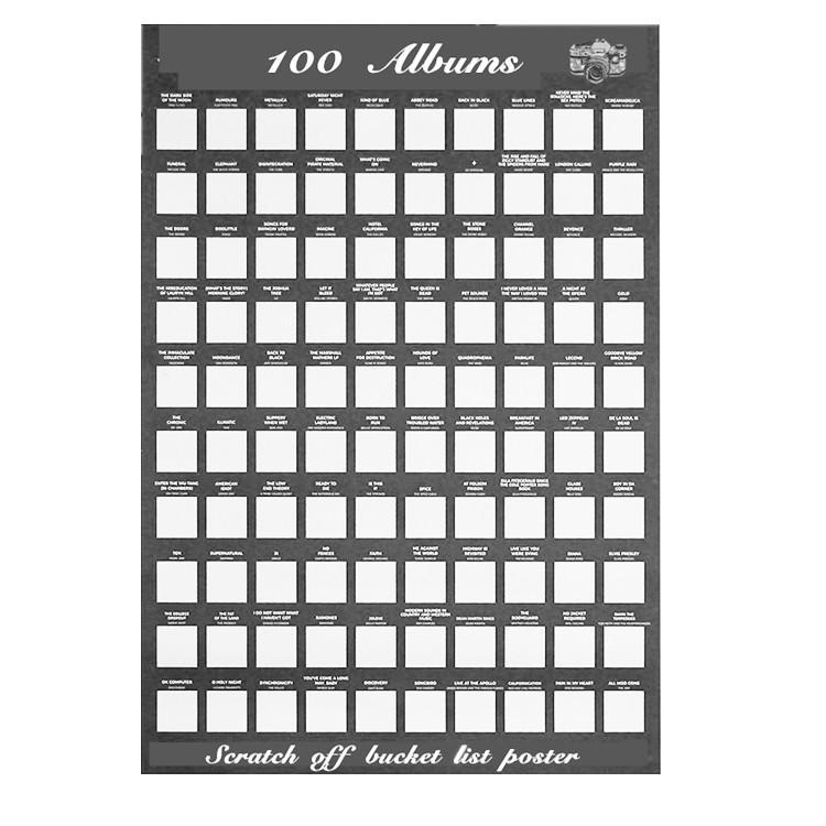 Scratch off Bucket Llist Poster Of 100 Must Listen To Album