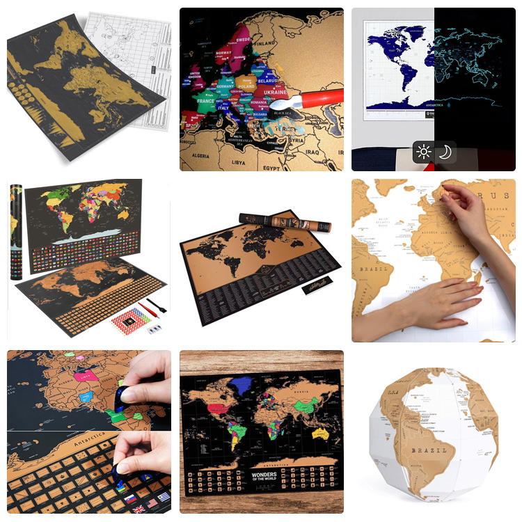 Custom Amazon Hot Sales Scratch Off USA UK Map 100 Movies Bucket List Deluxe Large Travel Scratch Off World Map Poster