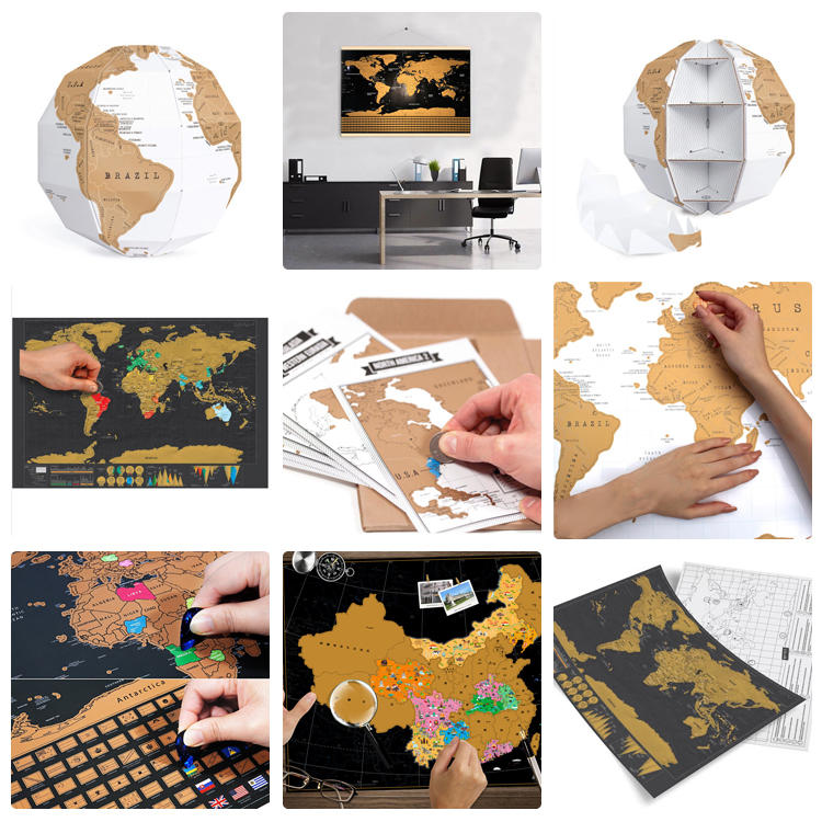 Custom Hot Sale Scratch Off USA UK Map 100 Movies Bucket List Deluxe Large Scratch Off World Map Travel Poster for Amazon