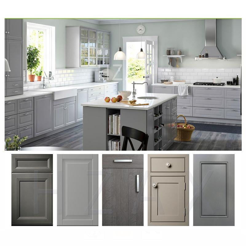 Kitchen Cabinet Manufacture Solid Wooden Grey Color Door Restaurant Equipment Kitchen Cabinet