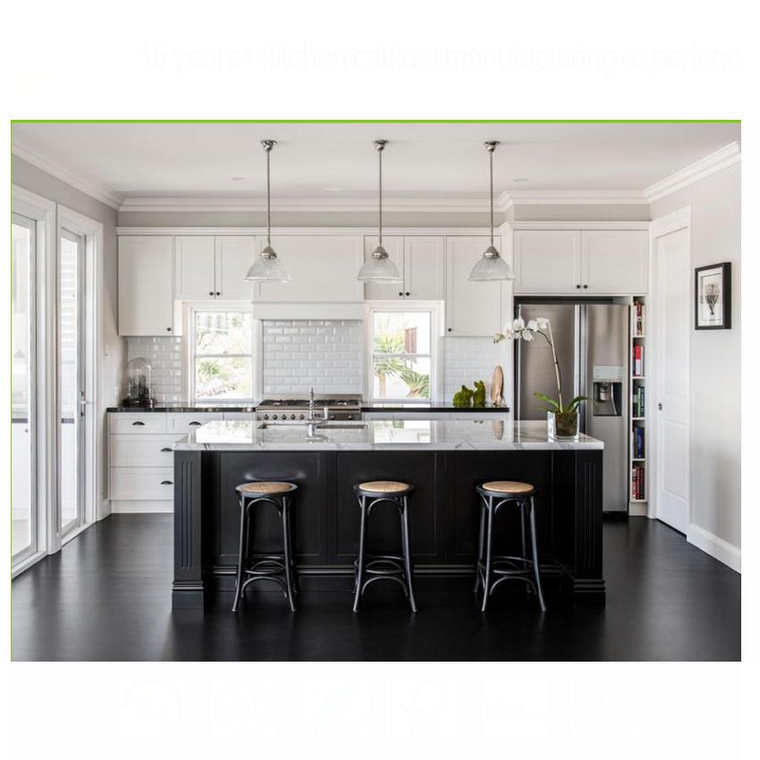 Modern small kitchen hanging cabinet design white shaker door