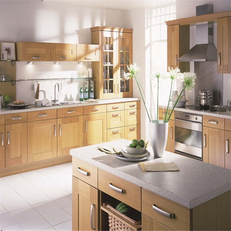 Flat Pack Oak Honey Color Solid Wood Door Wood Kitchen Cabinets Solid Designs