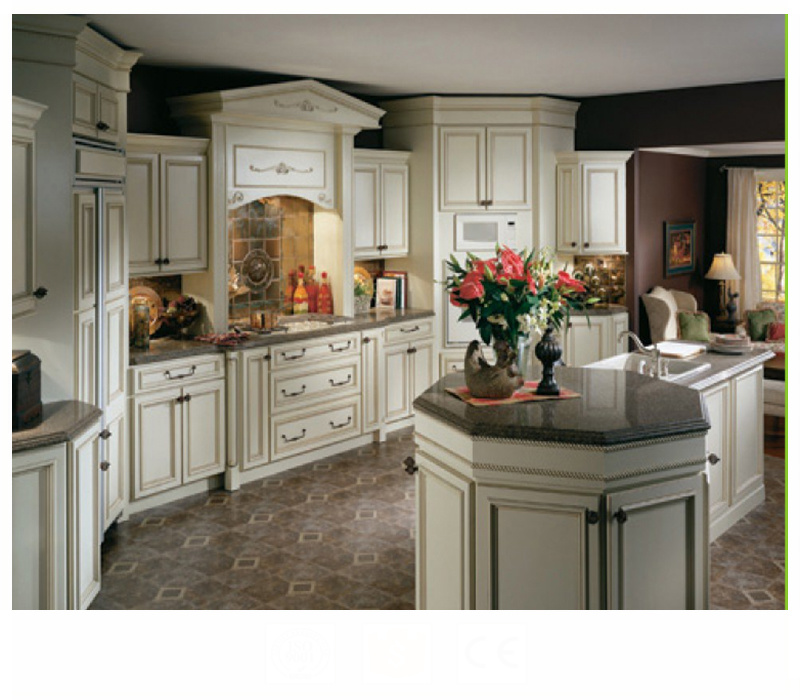 Classical Style Glazed White Custom Solid Wood Kitchen Cabinetry