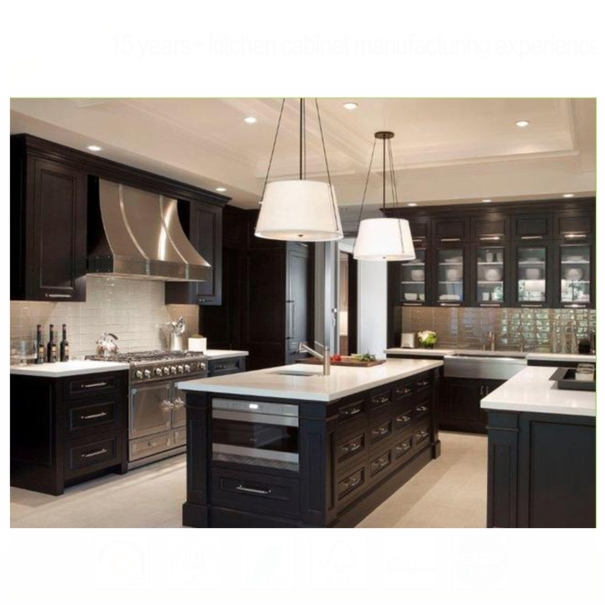 New design 2020 china waterproof solid wood kitchen cabinets
