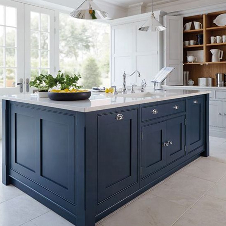 2021 New Sky Blue and White PVC Membrane MDF Kitchen Cabinets