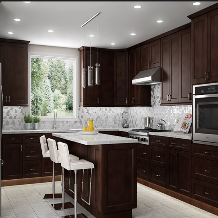 High Quality Customized Standard Wooden Self Assemble Solid Wood Classic Style Kitchen Cabinets