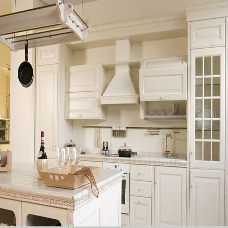 Made in China Modern Simple Designs White Color Solid Wooden Kitchen Cabinet