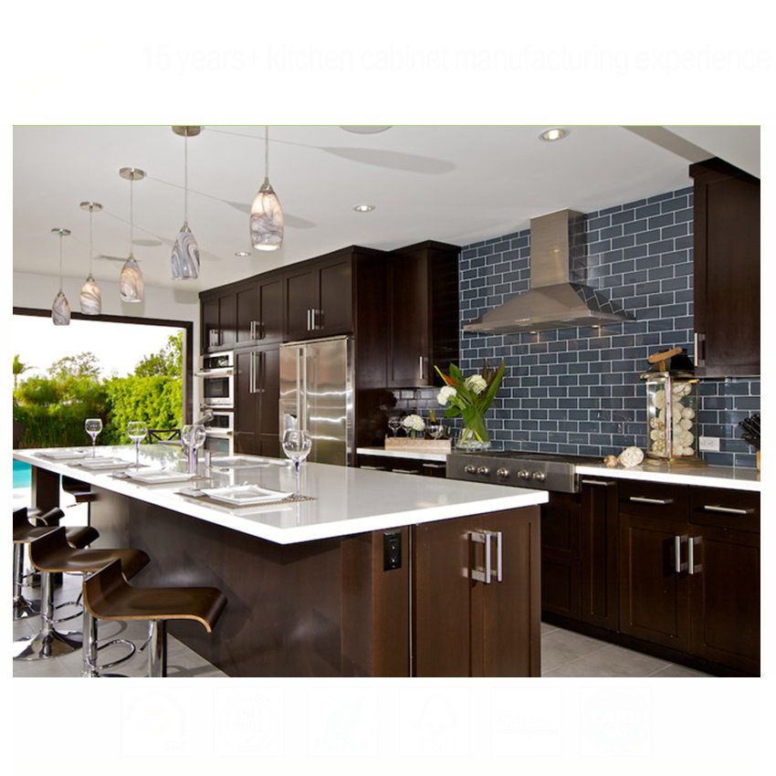 New Fashionable Design of Wulnut Color Solid Wood Kitchen Cabinets Hanging Cabinet Made in China