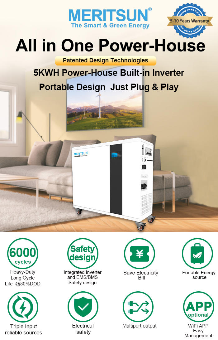 Meritsun Solar Home System 5kw with storage lithium ion battery hybrid Solar inverter all in one Solar Energy System