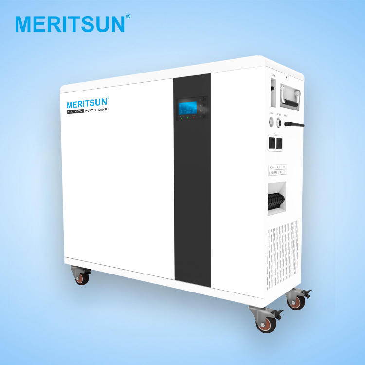 Meritsun All in one solar power system 48v lithium ion batteries 100ah withhybrid inverter ESS