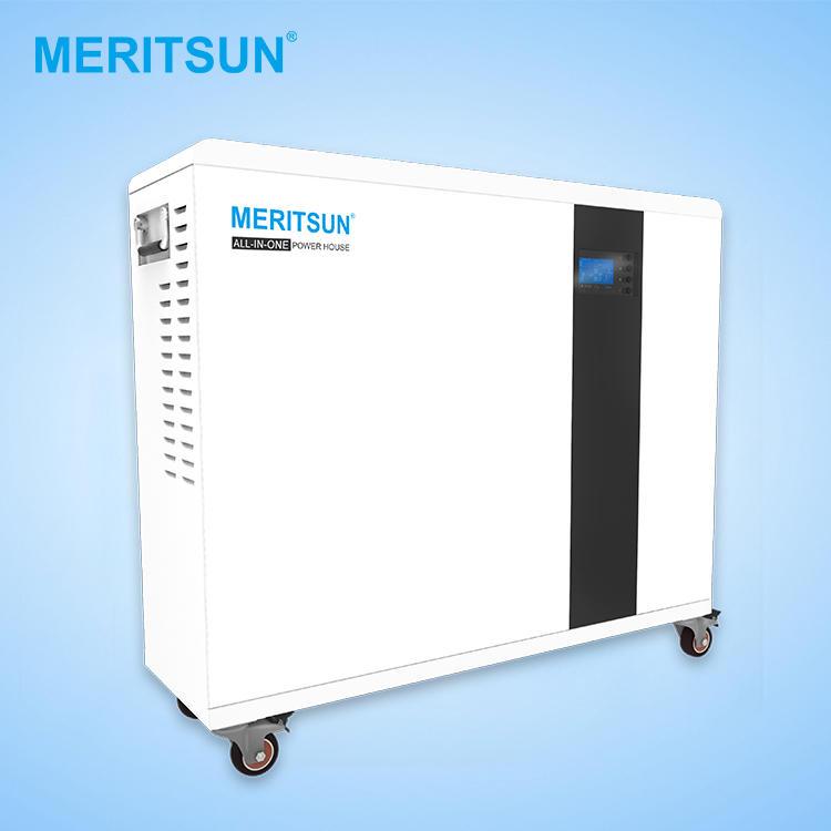 Meritsun All in one solar power system 48v lithium ion batteries 100ah withhybrid inverter ESS