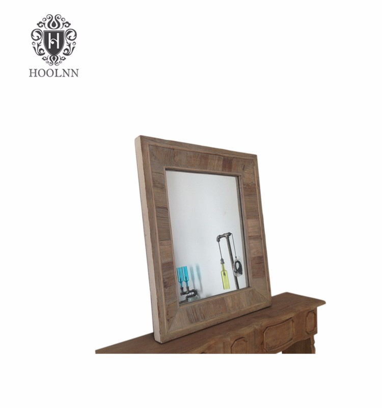 French Vintage Style Rectangular Wooden Wall Mirror HL045