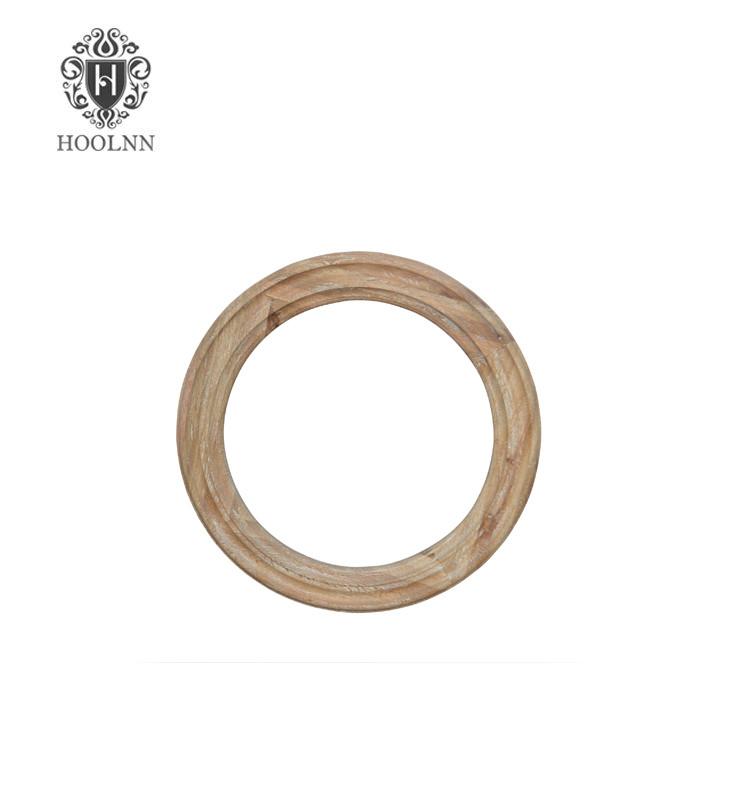 French Style Antique Oak Round Wooden Mirror HL111