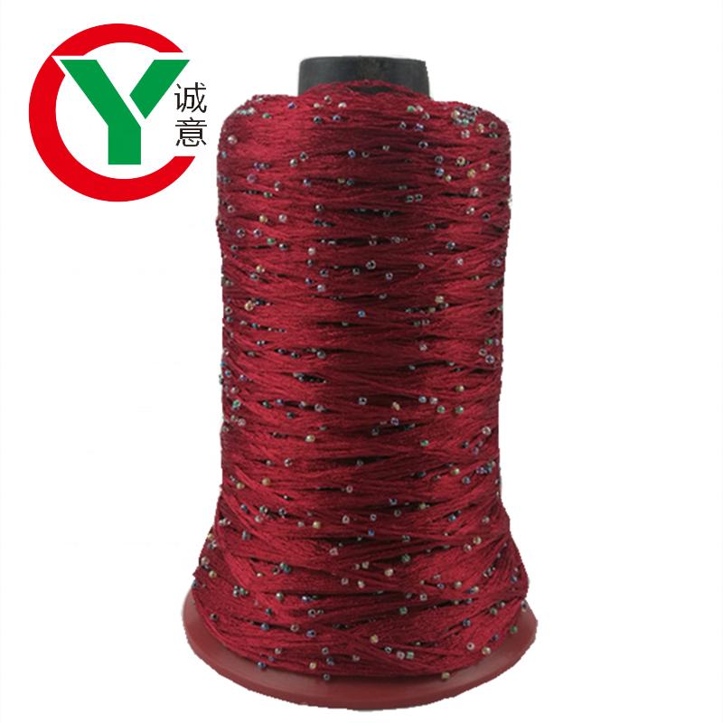 High quality fashion fancy yarn 150D polyester+2mm shiny bead yarn for knitting