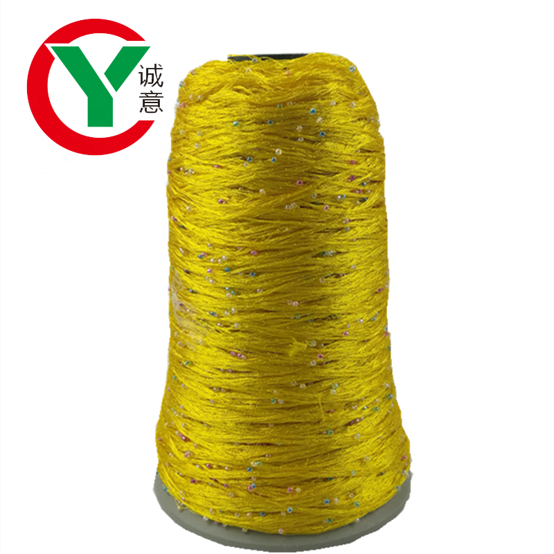 Factory wholesale fancy yarn 100%polyester round beads yarn