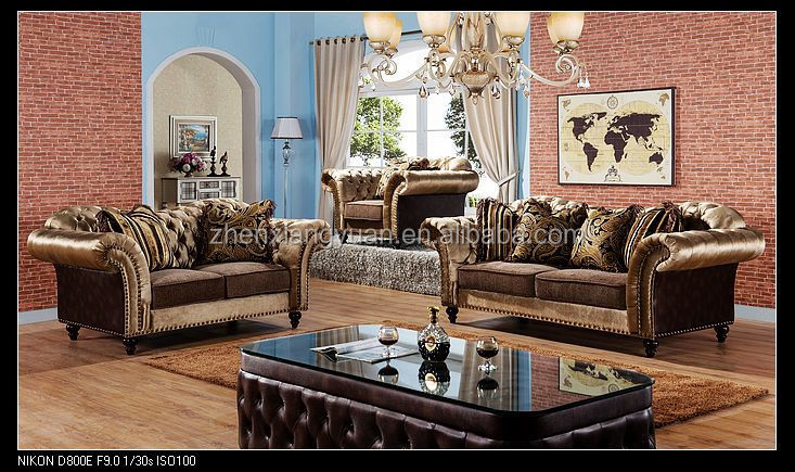 2017 Living room sofas american chesterfield style brown fabric sofa sets